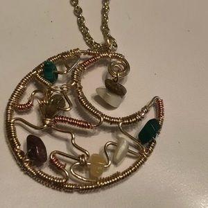 Moon necklace w/gem stones